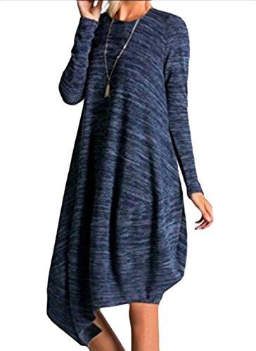 Coolred-femmes Solides Manches Longues Asymétriques Ourlet Grandes Poches Bleu Robe Midi