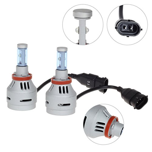 Partsam 1SET H8 H11 H16 Headlight Low Beam White 8000k Led All in One 40W + T10 921 2825 White Backup Light Reverse Bulbs Super Bright Led