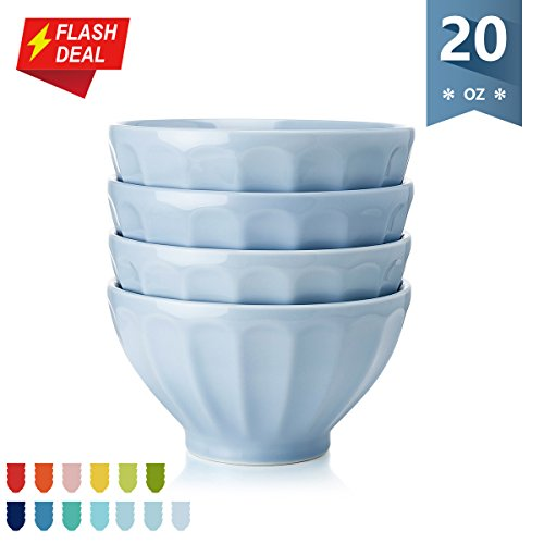 Sweese Porcelain Fluted Latte Bowl Set - 20 Ounce Stable and Deep - Microwavable Bowls for Cereal, Soup - Set of 4, ()