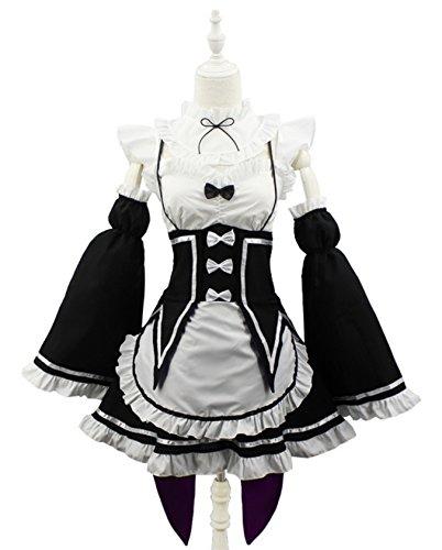 [HalloweenCostumeParty Re:Zero kara Hajimeru Isekai Seikatsu Rem Ram Maid dress Cosplay Costume (L)] (Costumes Starting With L)