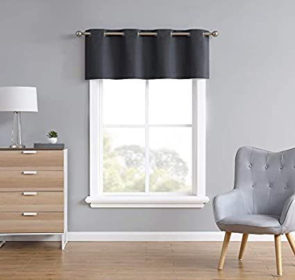 1 Valance 54 W x 18 L, Charcoal LinenZone Heat and Light Blocking Drapes 18 Inch Long Madison Eco Friendly Newly Innovated 100/% Blackout Valance Light Weight Fabric with Grommets