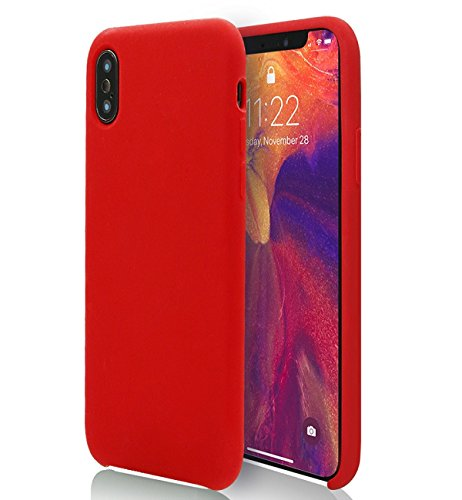Red iPhone X/10 Case MOJOKASE Anti-Shock Slim Matte Soft Touch Liquid Silicone Microfiber Lining, Wireless Charging Compatible Cover for Apple iPhone X (2017) Retail Packaging (Mojo (Pastel Silicone)