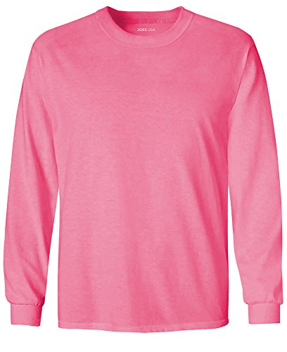 Joe's USA tm Youth Long Sleeve Cotton T-Shirt-NeonPink-L by Joe's USA