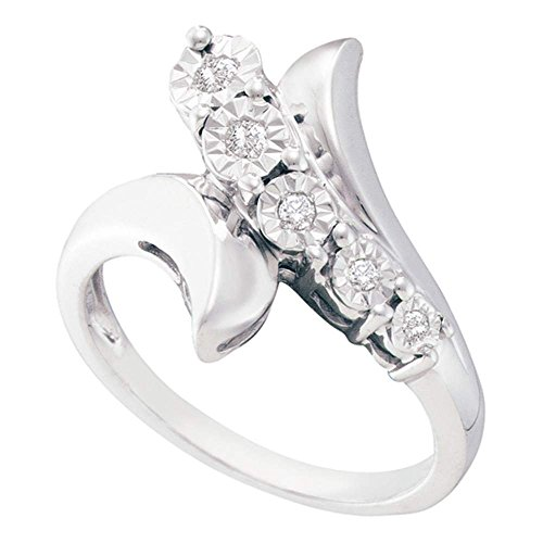 Diamond Curve Fashion Ring Sterling Silver Fancy Band Round Illusion Set Polished Finish Fancy 1/10 ctw