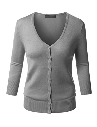 RK RUBY KARAT Womens Clean Rib Fine Knit 3/4 Sleeve Cardigan Sweater by RK RUBY KARAT