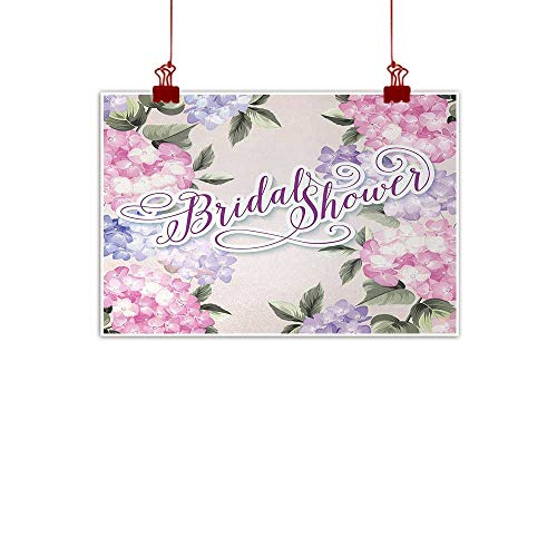 (duommhome Bridal Shower Modern Frameless Painting Shabby Chic Hydrangea Flowers Wedding Bride Celebration Image Painting Artwork of Living Room Bedroom Office W31 xL24 Purple and Light Pink )