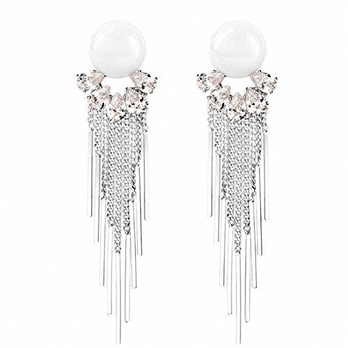 sanfnee Women's Fashion Earrings White Simulated Pearl Crystal Tassel Stud Clip Earring Long (silver clip earrings)