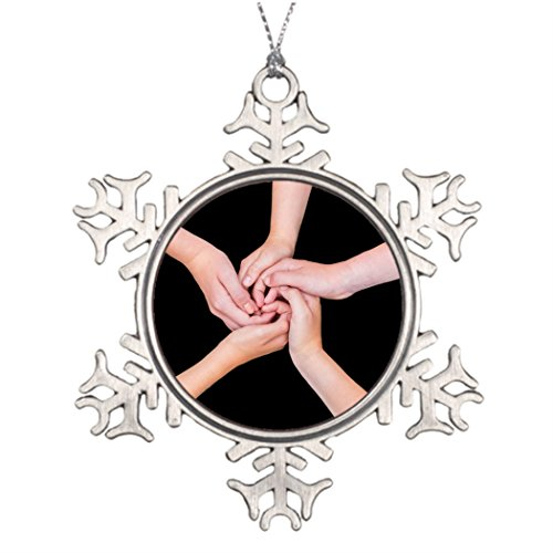 Personalized Family Christmas Snowflake Ornaments Five nage arms with hands entangled on black Personalized Christmas Snowflake Ornaments Holding