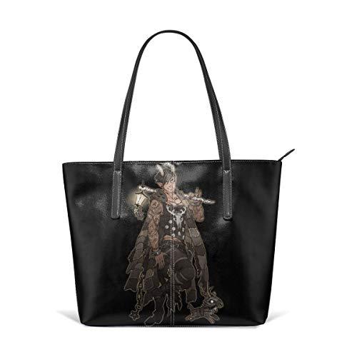 (Christmas Krampus Tattoo Men Men Women Leather Tote Bags Satchel Top Handle Cross Body Shoulder Hobo Handbags For Ladies Shopping Bag Office Briefcase)