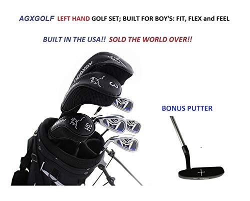 agxgolf-boys-left-hand-xlt-magnum-13-piece-complete-golf-set-w460cc-driver-fairway-wood-hybrid-678-9-irons-pw-stand-bagfree-putter-teen-or-tween-length-built-in-the-usa