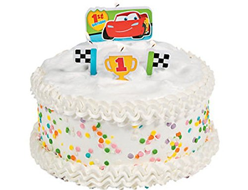 Zooming Disney Cars 1st Birthday Party Molded Cake Candle Set