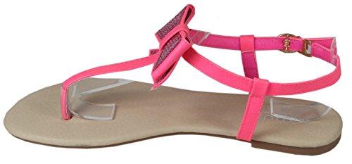 Blonna - coole Sandale mit Metallsteinen Pailetten Knöchelriemchen Schaft Zehentrenner LederOptik Damen Sommer Schuhe 36 37 38 39 40 41 Pailetten Schleife Pink