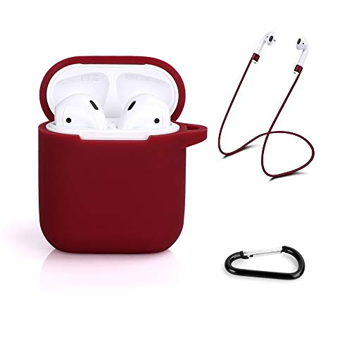 AirPods Case, Hammee AirPod Case Soft Silicone Protective Case Cover for Apple AirPods Charging Case, Portable AirPods Charging Case Accessories Compatible with Apple AirPods 1 & AirPods 2 (Burgundy)