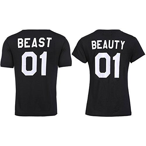 (Bangerdei Beast Beauty Matching Couple Short Sleeve T-Shirt Anniversary Black3 Women S + Men)