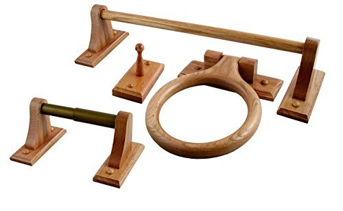 4 Pcs Rustic Oak Bathroom Accessories Sets With Toilet Paper Holder, Towel Rack, Towel Hook and Towel Ring by Imperial Home (Image #1)
