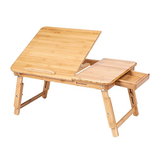 SONGMICS Large Size lapdesks, Multifunctional Bed Severing Tray, Folding Bamboo Laptop Desk, Breakfast Table with Adjustable Tilt Angle, Notebook Stand, Sofa Tray with Drawer, Natural Grain ULLD009N