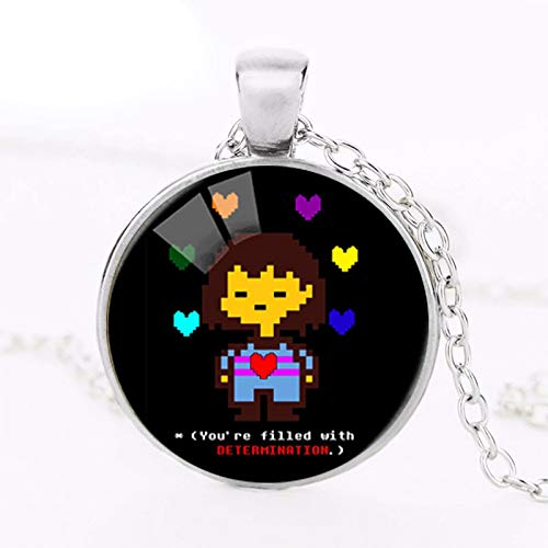 New Undertale Rainbow Heart Flowery Photo Glass Pendants Necklace for Women Statement Long Chain Fashion Jewelry Necklace