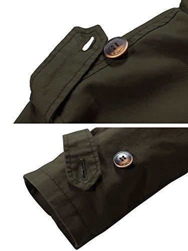 Verde Cotone Uomo Militare Giacca A Vento Colletto Stand Wantdo fq6wf