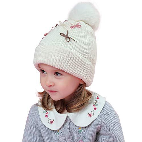 Acmede Bonnet Enfants Blanc Avec Arc Fille rwrqPA