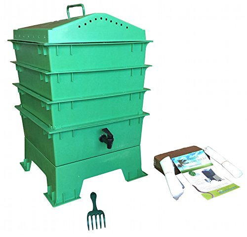 VermiHut-3-Tray-Worm-Compost-Bin-with-Free-Claw-Green