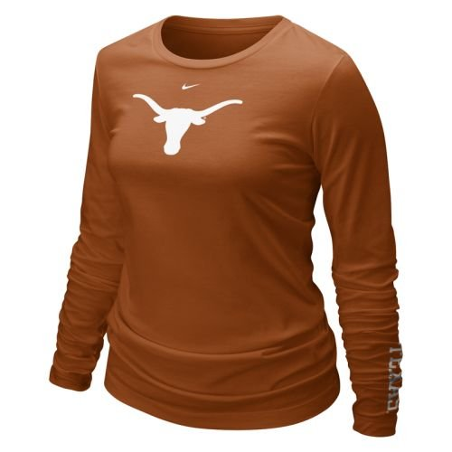 Nike Texas Longhorns Orange Ladies Classic Logo Long Sleeve T-shirt (Large) Nike Classic Logo Tee