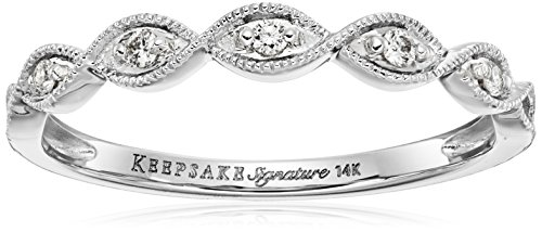 Keepsake Signature 14k White Gold Diamond Stackable Ring (1/10cttw, H-I Color, I1 Clarity), Size 7 - White Diamond Stackable Ring
