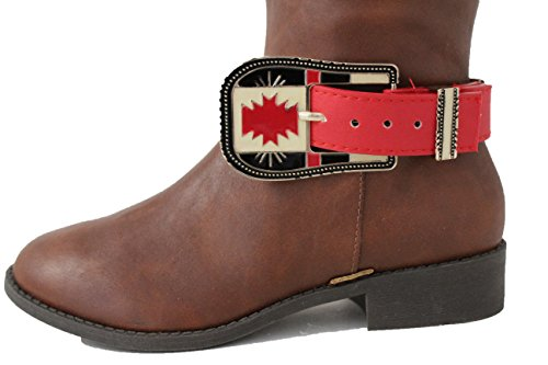 TFJ Women Western Boot Strap Metal Belt Buckle Bling Bracelet Anklet Charm Gold (Faux Gold Anklet)