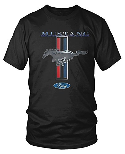 Amdesco Men's Officially Licensed Ford Mustang Pony Emblem T-Shirt, Black (Mustang Black Shirt)