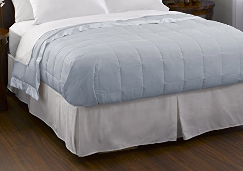 Blue Light Blanket Sleeper - Pacific Coast Feather Company 67814 Down Blanket, Cotton Cover with Satin Border, Hypoallergenic, Full/Queen, Blue Ice