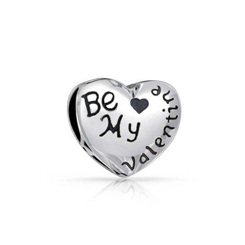 Bling Jewelry Heart Shaped Be My Valentine Charm Bead .925 Sterling Silver