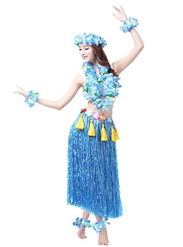 Blue Hawaiian Dress Costume - Rosemary Hawaiian Hula Dance Costume Ballet Show Cosplay Dress Skirt Garland For Adult 80CM Full Sets Blue