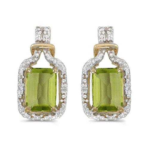14k Yellow Gold Studs Genuine Green Birthstone Emerald-cut Peridot And Diamond Earrings (1.66 ()
