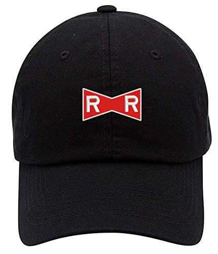Dragonball Red Ribbon Army Logo Embroidered Low Profile Soft Crown Unisex Baseball Dad Hat Black ()