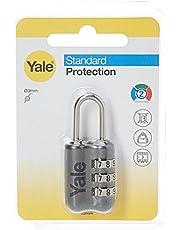 Yale Solid Metal Body Travel Lock Grey