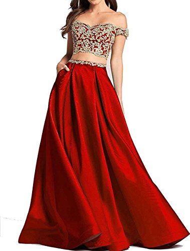Ruisha Women Off Shoulder Gold Lace Appliques Two Piece Prom Evening Dresses Long 2018 Formal Gown RS0124 US 22W Red