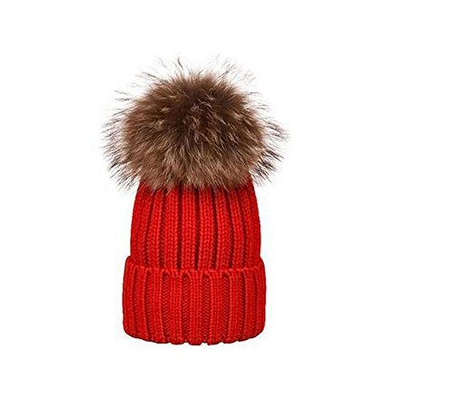 1PCS Fashionable Parent-Child Winter Warming Crochet Knit Hat -Removable Pom Pom Hat Beanie Ski Cap (Kids 2-9years old, Red) (Crochet Beanie Pattern For 2 Year Old)