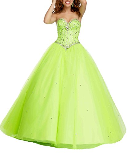 Length Quinceanera Women's Dearta Lime Dresses Crystals Ball Floor Gown Sweetheart 7XgXw