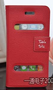 EC1436 PU Leather Protective Flip Folio Slim Fit Wallet Purse Stand Case Cover for IPhone 5, Mobile Cell Flip Cover Case (Red)