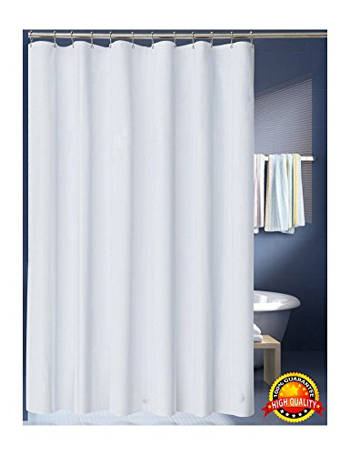 LanMeng Solid White Fabric Shower Curtain Liner, Extra Long, Mildew-Free Water-Repellent (72-by-78 inch, White (fabric))