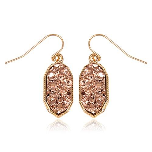 - RIAH FASHION Lightweight Acrylic Stone Druzy Crystal Oval Drop Earrings - Sparkly Geometric Polygon Hook Dangles Hexagon, Decagon (Decagon - Champagne)