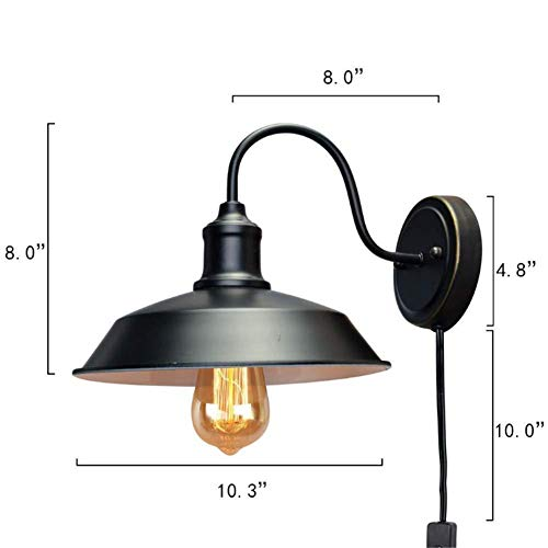 Industrial Retro Wall Light with Plug Wire and Button Switch E27 Sockets Single Head Wrought Iron Pot Lid Wall Lamp Shade Outside Black Inner White for House Bar Restaurants Coffee Shop