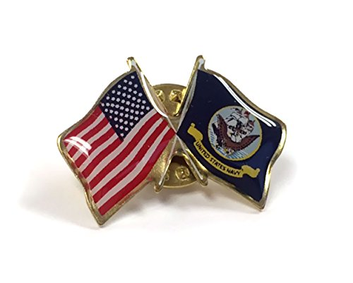 - US Navy Crossed with American Flag Lapel Pin, Double Waving, Made in USA