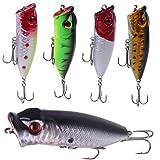 Cheap Strike Assassin 5 Piece Topwater Popper Bass Fishing Lure Set