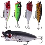 Strike Assassin 5 Piece Topwater Popper Bass Fishing Lure Set