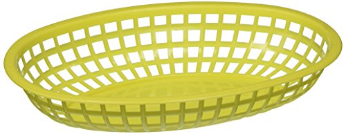 Winco Oval Fast Food Baskets, 10.25-Inch by 6.75-Inch by 2-Inch, Yellow, Pack of 12