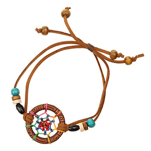 Jili Online Vintage Handmade Leather Lovely Charm Dream Catcher Fashion Design Lucky Bracelet Bangle - Brown