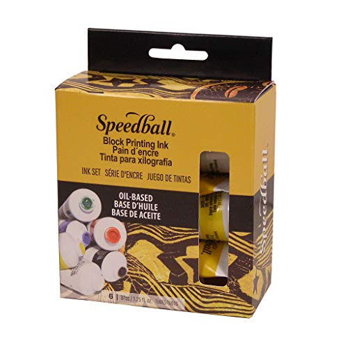 (Speedball 3476 Oil-Based Block Printing Ink Starter Set For Professional, Permanent Prints AP Certified – 1.25 FL OZ Tubes)