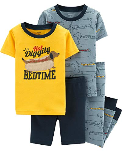 Carter's Boy's 4-Piece Snug Fit Cotton PJ Set, Hot Dog, 5T