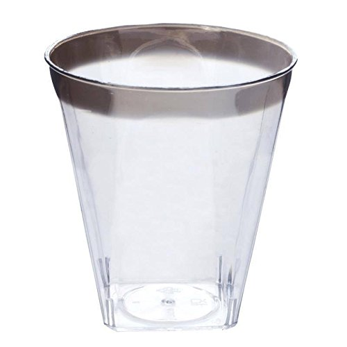 BalsaCircle 60 pcs 2 oz. Clear Plastic Shot Glasses - Silver Rim