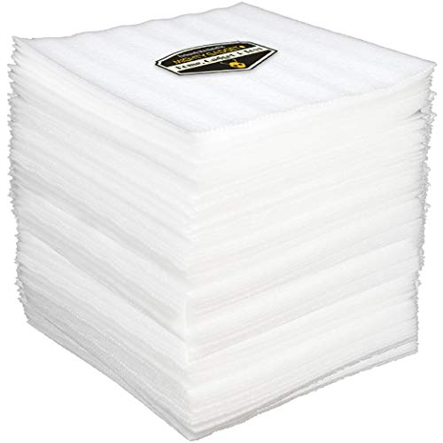 "100 Pack of Mighty Gadget (R) 12"" X 12"" Foam Wrap Sheets, Safely Wrap Dishes, China, and Furniture, Foam Wraps Cushioning for Moving Storage Packing and Shipping Supplies, 100-Pack (White)"